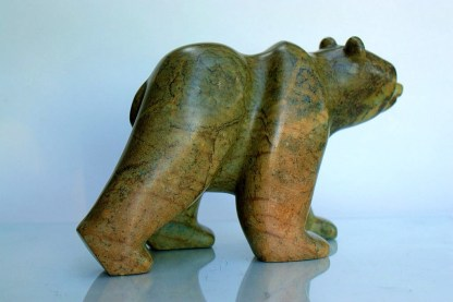 Bear sculpture, hand carved soapstone figurine