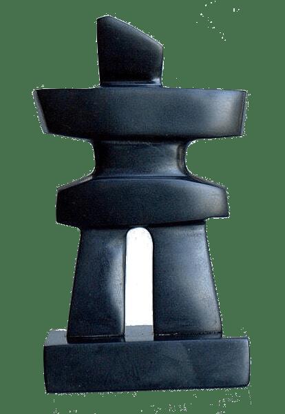 Black stone spread armed human figurine carving