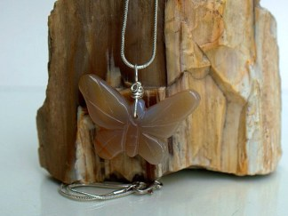 Translucent agate gemstone butterfly carving