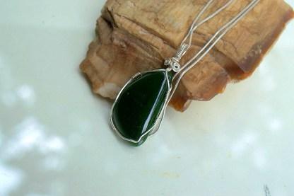 Nephrite Jade silver wire set handmade jewelry