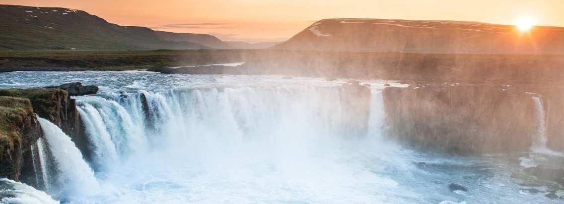 The majestic Goðafoss Waterfall during Sunset