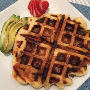 Kimchi Waffles with Avocado and Strawberry