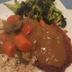 Pork Katsu Curry with brown rice and roasted brocolli