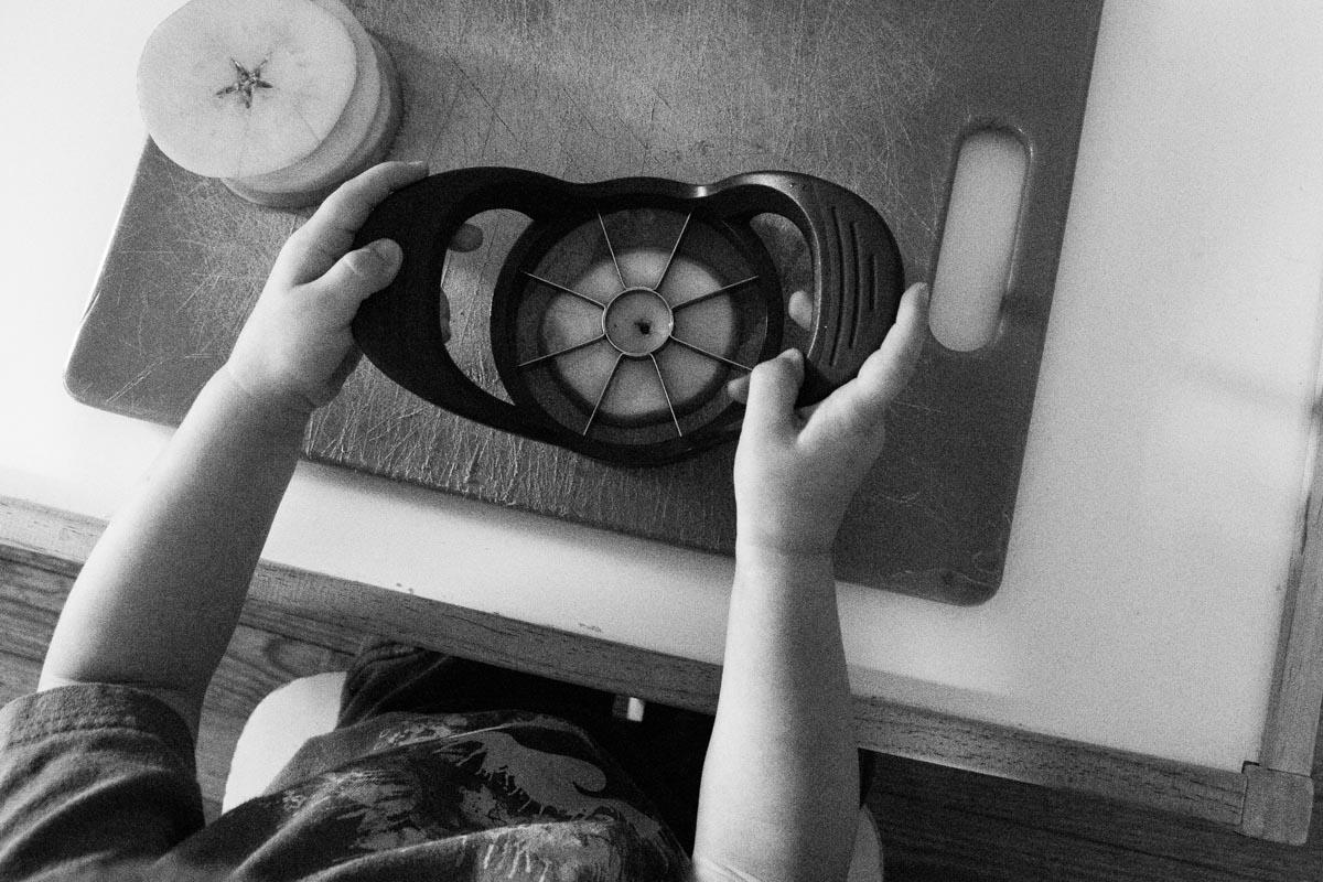 Toddler Cutting Apples