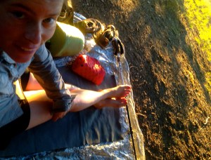 Relaxing on my thinlite pad and window film ground sheet on the Bigfoot Trail