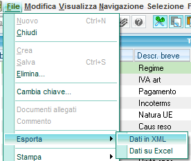Export in xml dei metadati in Sage X3 V6