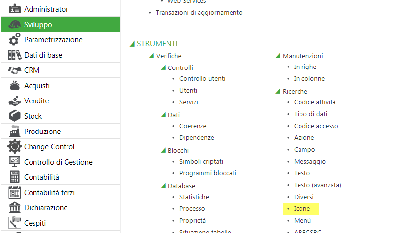Sage V9 icons selection menu