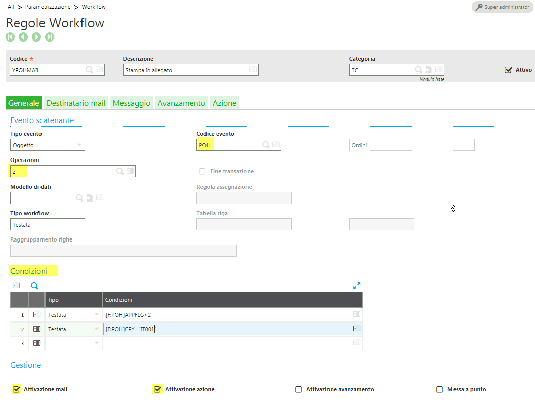 Sage X3 v9 GESAWA Workflow mail attachment object POH event