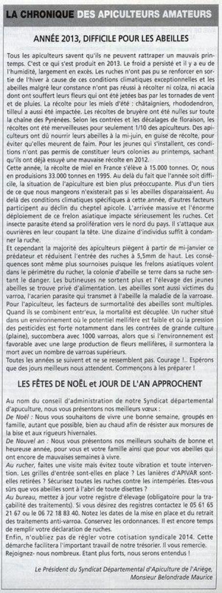 La Gazette ariégeoise 2013 Année difficile pour les abeilles