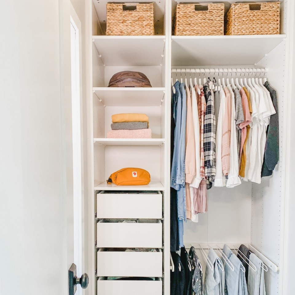 Minimalist women's closet with simple capsule wardrobe