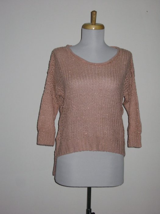 100% Acrylic Cropped Crew 3/4 Sleeve Colors: Pink- Cream