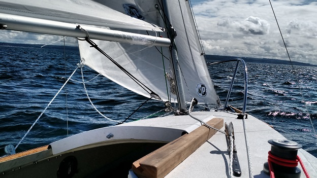 Sailing in 15 knots off of Point Hudson, Port Townsend Bay, WA.