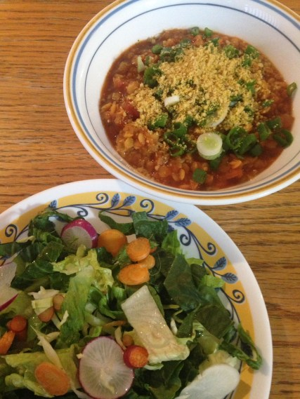 Salad and Red Lentil Chili