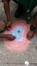 Sidewalk chalk teamwork