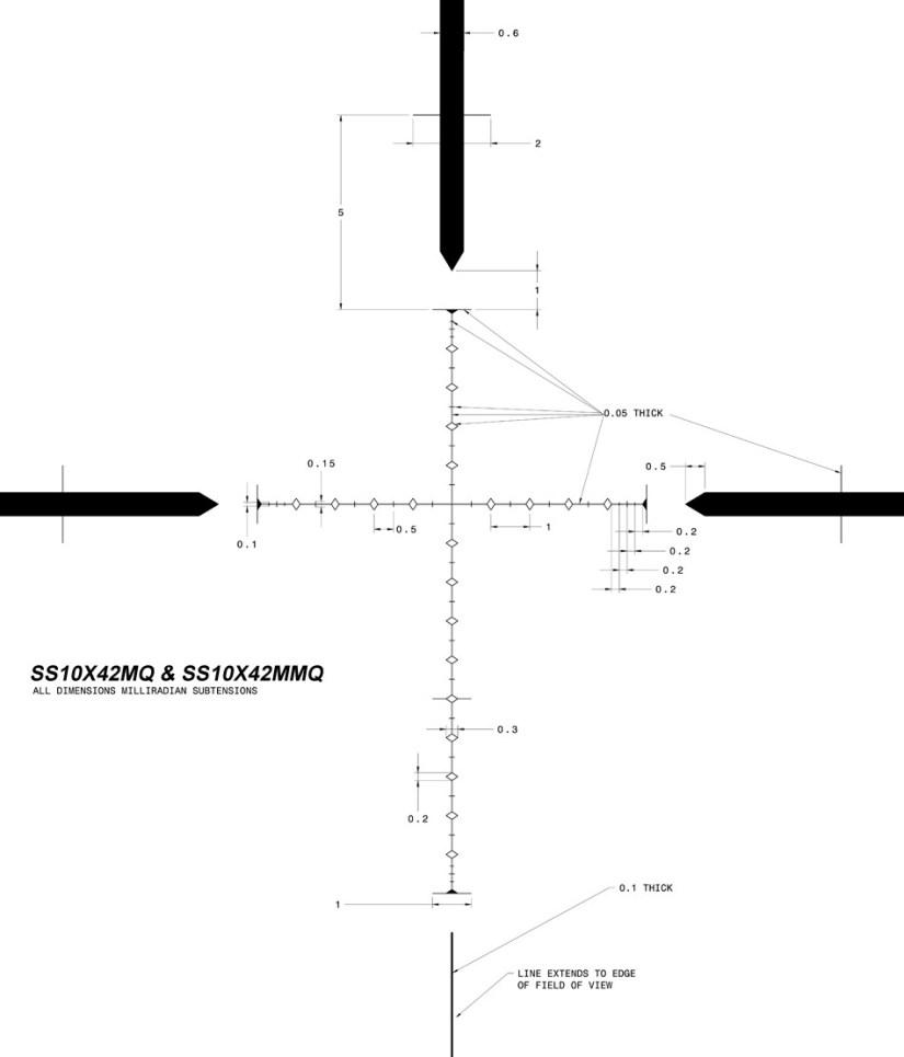 SWFA SS 10x42 rear focus Mil-Quad reticle diagram