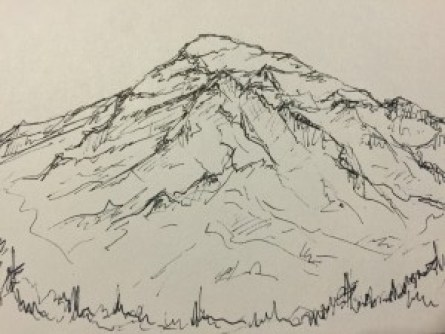 Claire at the Issaquah REI drew this sketch of Ranier for me. Remember mountain pose!