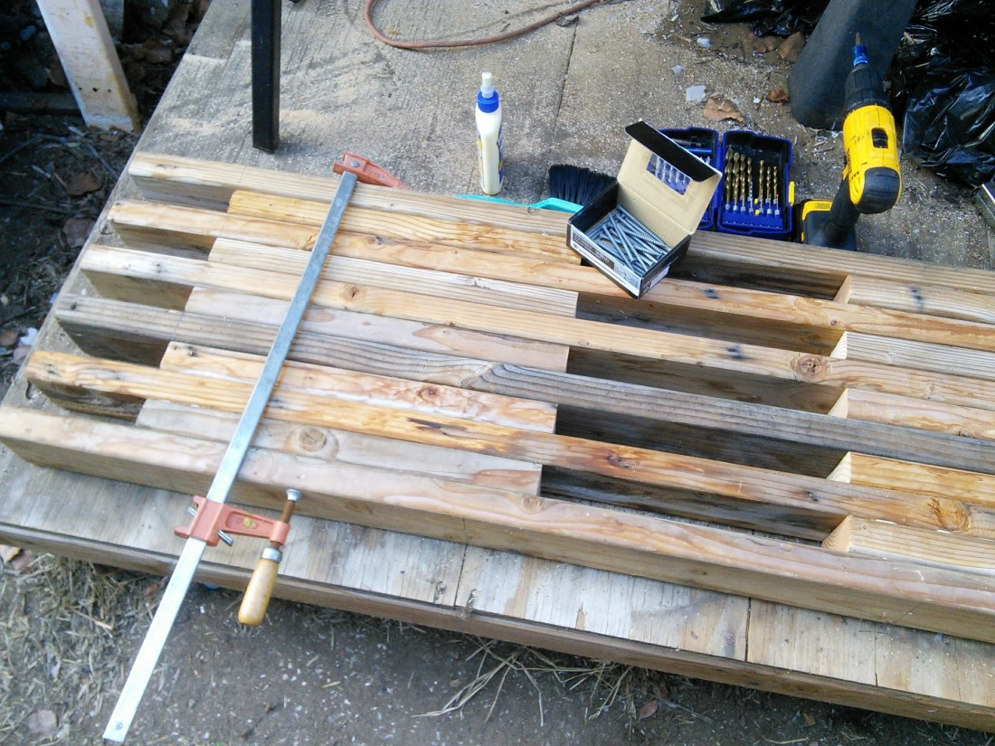 "The bench fully assembled (24"" clamp helped keep thei pieces from separating while screwing)"