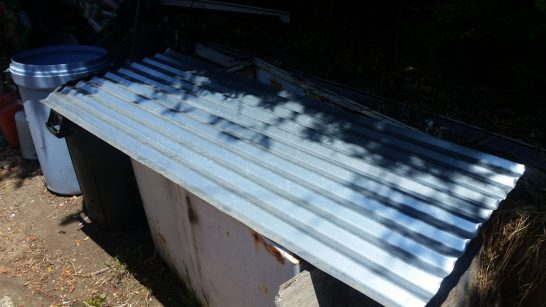 A sheet of corrugated steel leftover from my greenhouse build