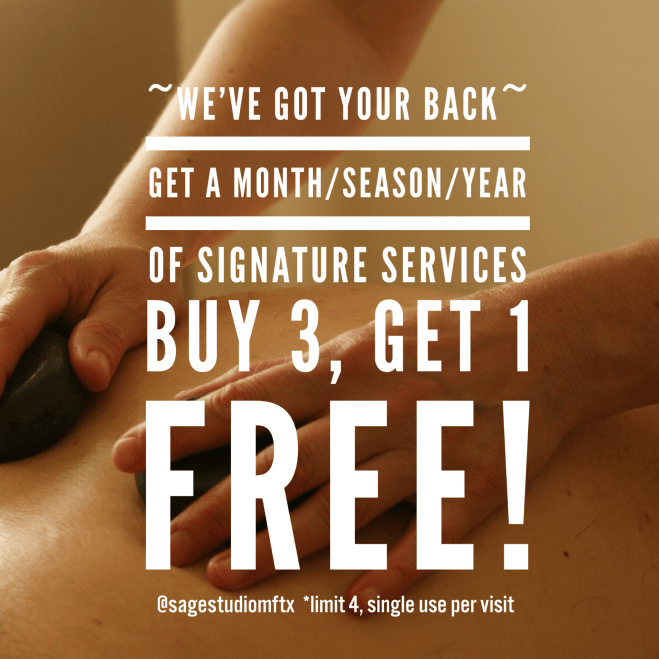 Package Deal! Buy 3: Get 1 FREE All Sage Studio Services. 4 Services to last you a Month, Season, or Year!
