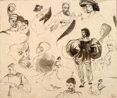 Eugène Delacroix - Feuille d'études pour Faust de Goethe : Faust et Méphistophélès