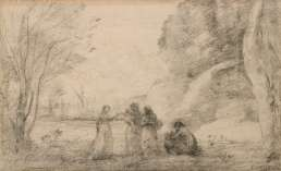 Jean-Baptiste Camille Corot - Une famille à Terracine - Crayon noir sur papier autographique
