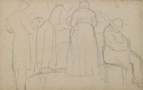 Georges Seurat - Homme assoupi, un autre debout lisant, deux femmes