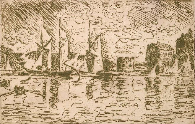 Paul Signac - Voiles à sec à Saint-Tropez