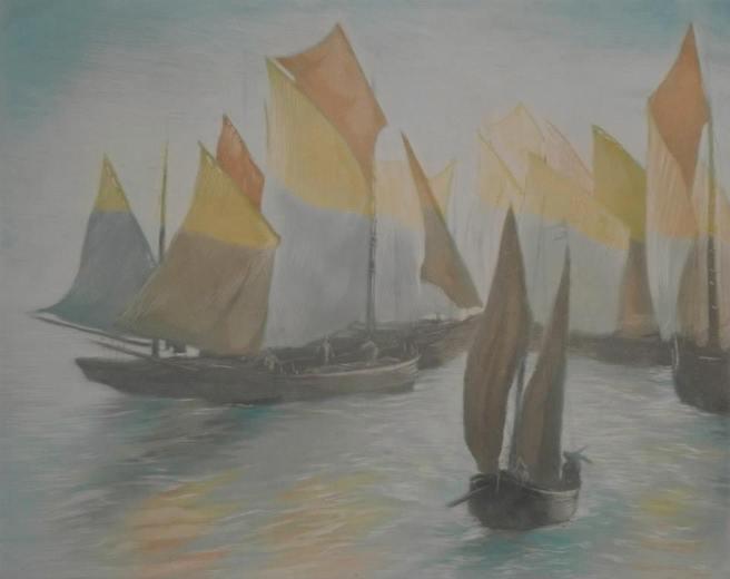 Alfredo Müller - Flottille de bateaux pêcheurs - 1902