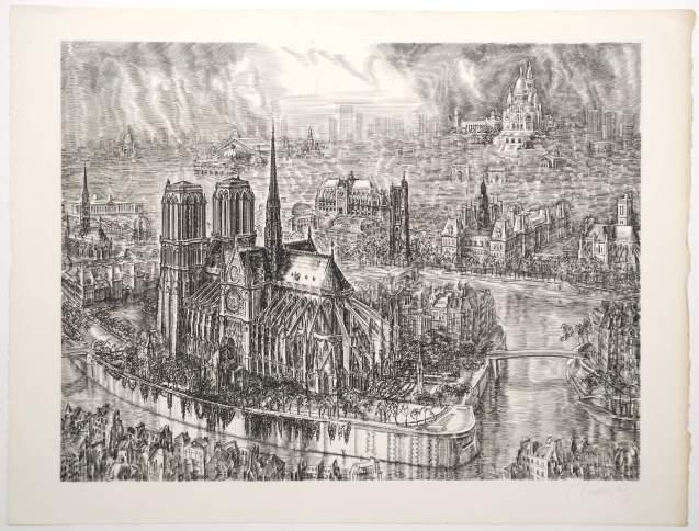 Albert Decaris - Notre Dame de Paris, vue plongeante - Recto