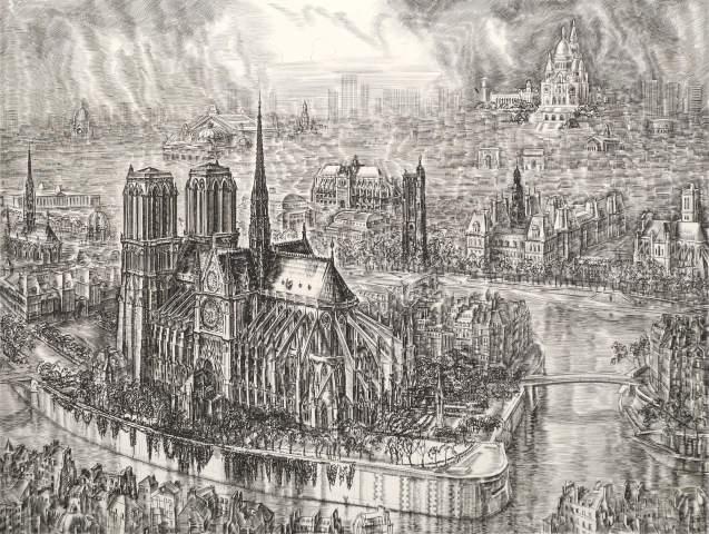 Albert Decaris - Notre Dame de Paris, vue plongeante