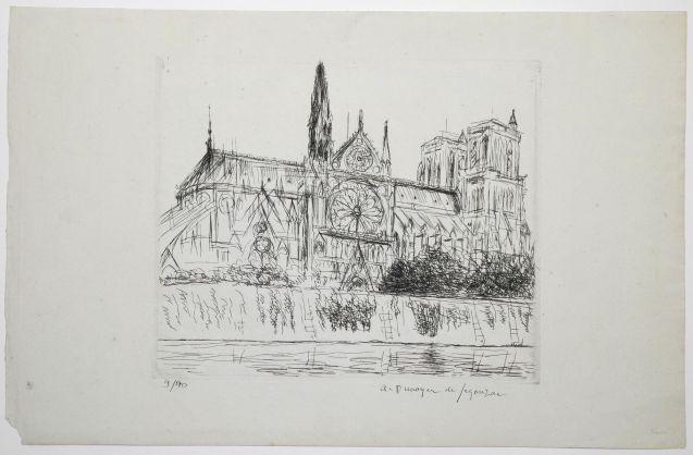 André Dunoyer de Segonzac - Notre Dame de Paris vue du quai Montebello - Recto
