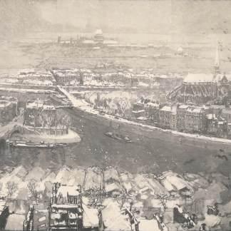 Auguste Lepère - Paris sous la neige, vu du haut de Saint Gervais