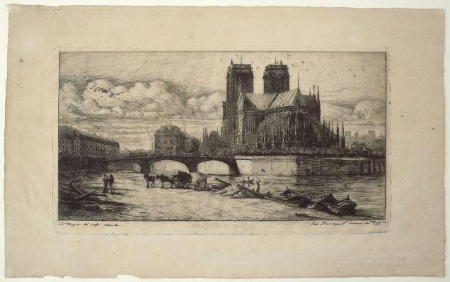Charles Meryon - L'abside de Notre Dame de Paris - Recto