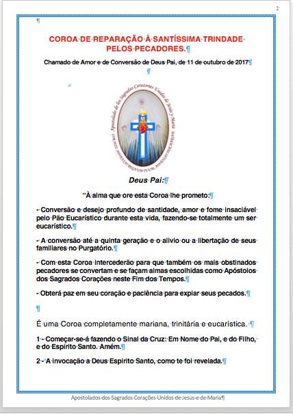 Coroa de Reparação à Santíssima Trindade pelos pecadores