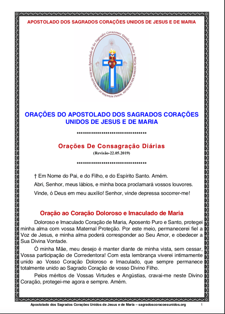 Consagrações Diárias dos Apostolos dos  Sagrados Corações Unidos de Jesus e de Maria