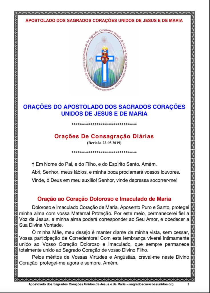 Consagrações Diárias dos Apostolos dos  Sagrados Corações Unidos de Jesus e de Maria - A4