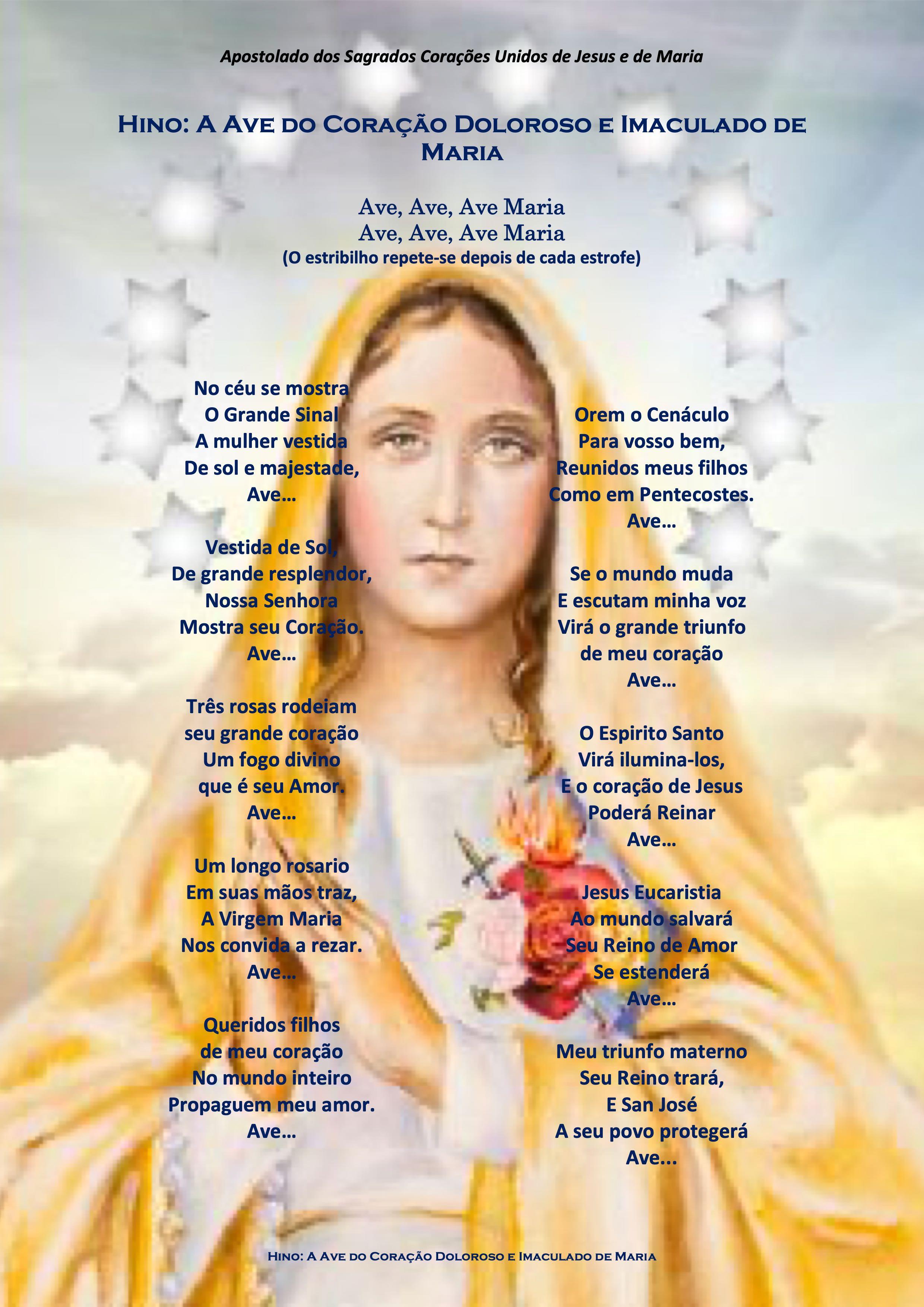 Hino - A Ave do Coração Doloroso e Imaculado de Maria-pt-08.09.2021
