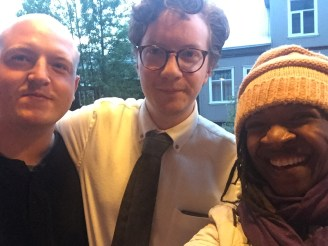 Musician Olafur Sverrir Traustason, his Bio Paradis colleague and me. Sorry I didn't get your colleague's name.