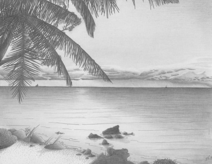 Sketsa Pemandangan Pantai yang Mudah