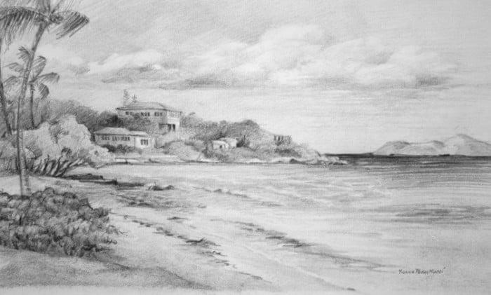 57 Gambar Sketsa Pemandangan Alam Pantai Gunung Dan Desa