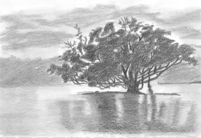 Sketsa Pemandangan Pantai