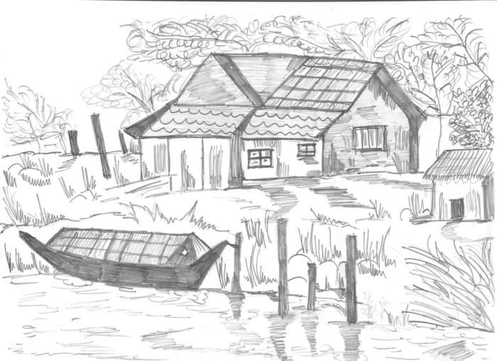Sketsa Rumah Desa
