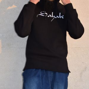 sweat oversize noir avec logo sahabi blanc