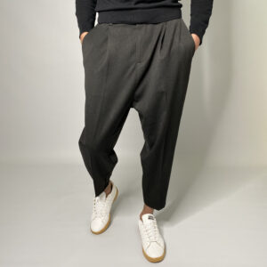 pantalon sarouel classe oversize fuselé gris foncé
