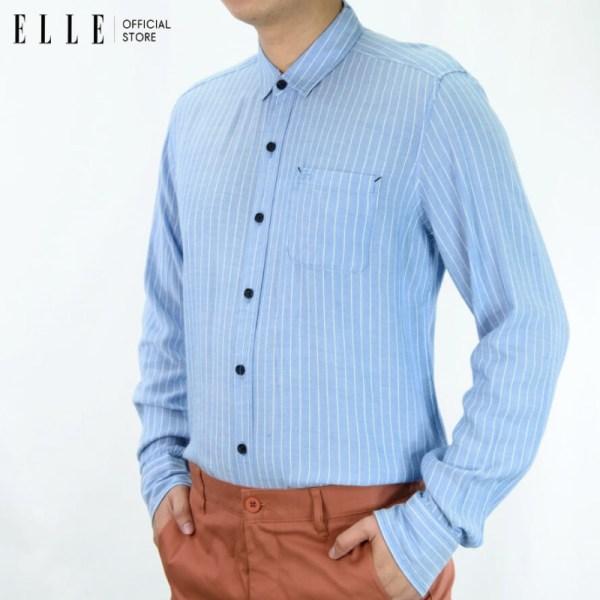 Elle Homme ELLE HOMME เสื้อเชิ้ตแขนยาวคอปก สีฟ้า (W8B472)
