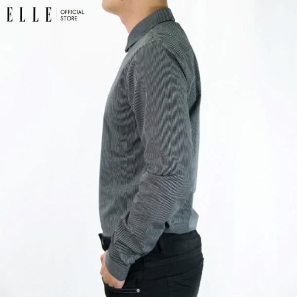 Elle Homme ELLE HOMME เสื้อเชิ้ตแขนยาวคอปกทอลายริ้ว สีดำ (W8B500)