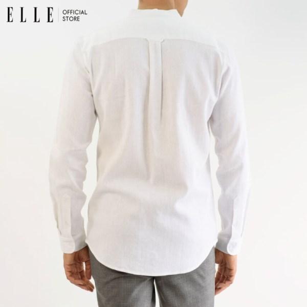 Elle Homme ELLE HOMME เสื้อเชิ้ตผู้ชาย คอจีนแขนยาวทรง slim ผสมลินิน