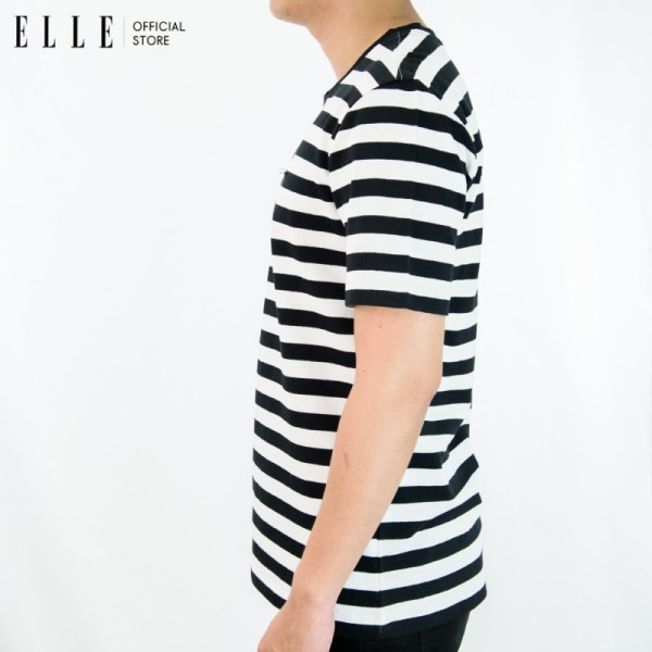 Elle Homme ELLE HOMME เสื้อยืดคอกลมแขนสั้นทอลายริ้ว สไตล์ Casual สีขาว (W8K412)