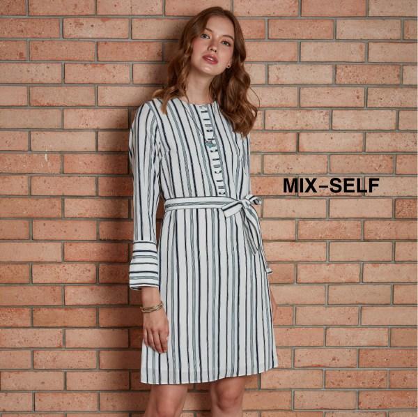 Mix-Self MIX-SELF เดรสพิมพ์ลายทาง รุ่น FS8662A