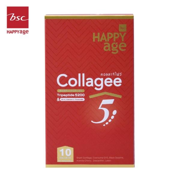 Bsc Happy Age BSC Happy Age Collagees 5 คลอลาจีไฟว์ ไตรเปปไทด์ บำรุงกระดูกข้อ และสายตา 10 ซอง